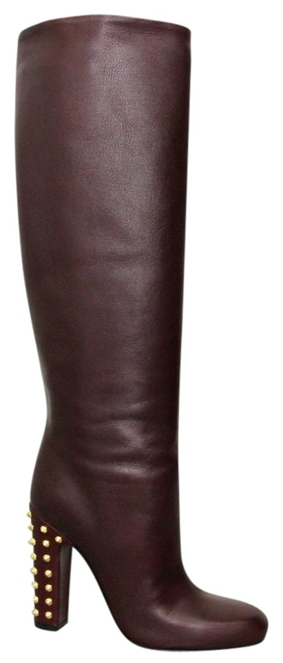 585b14323 Gucci Bordeaux Jacquelyne Studded Tall It 36.5/ 6.5 297199 Boots/Booties