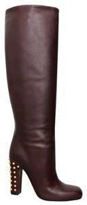 Gucci Jacquelyne Studded Tall Bordeaux Boots
