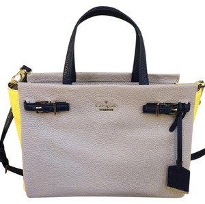 Kate Spade Satchel in Tan, Yellow, and Navy