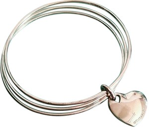 Tiffany & Co. Tiffany & Co. Sterling Silver Triple Bangle Bracelet With Heart Charm