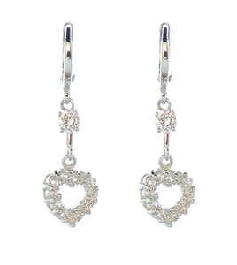 Sweetheart Sparkle Silver Plated Rhodium Cubic Zirconia Drop Earrings
