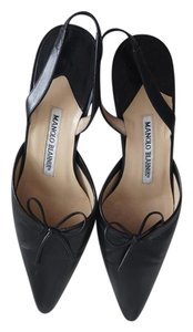 Manolo Blahnik Manolo Sexandthecity Leather Flats Black Pumps