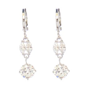 Grand Estate Drop Rhodium Silver Plated Drop CZ Crystal Earrings