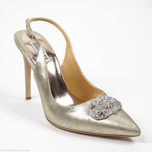 Badgley Mischka Nib Sansa Size 10 Gold Leather Jewel Embellished Slingback Pump Wedding Shoes