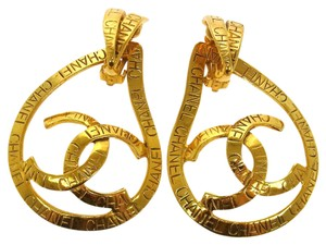 Chanel CHANEL RARE CC LOGOS EARRINGS GOLD-TONE CLIP-ON