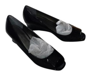 Bandolino Patent Leather Open Toe Wedge Black Pumps