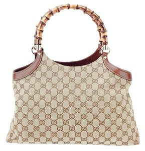 Gucci 137395 Canvas Leather Bamboo Satchel in Tan and Beige