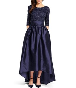 Adrianna Papell Navy Beaded Bodice Taffeta Gown-04560701 Dress