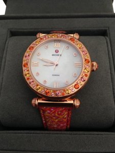 Michele Ltd Ed caber topaz 18k rosegold with diamonds and topaz watch