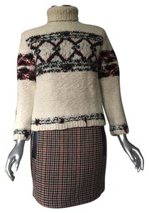 Maje A-line Mini Skirt Beige Houndstooth Plaid