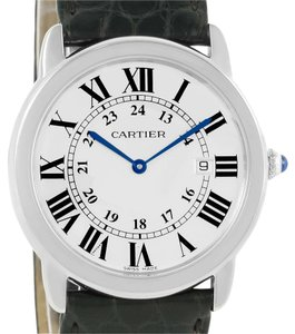 Cartier Cartier Ronde Solo Large Steel Black Leather Watch W6700255 Box Papers