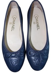 Chanel Calfskin Quilted Navy Blue Flats