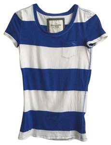Abercrombie & Fitch T Shirt Blue and White Striped