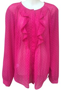 Ann Taylor LOFT Top Hot Pink & Gold