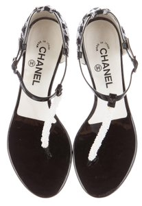 Chanel Interlocking Cc Camellia Black, White Sandals