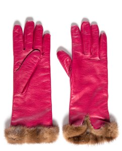 Fuchsia Leather & Fur Cashmere Lined Gloves