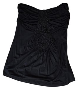 ANGL Strapless Embroidered Top Black