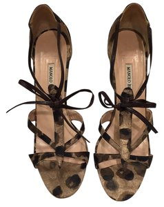 Manolo Blahnik Dark Brown Leopard Sandals