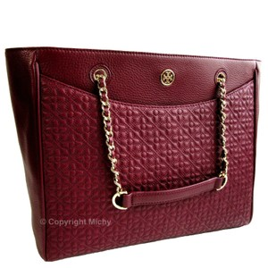 Tory Burch Quilted Leather Tote in Red Agate