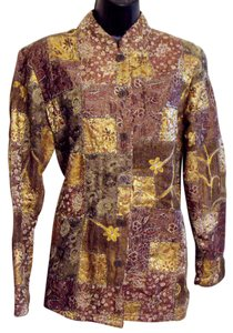 Chico's Metallic Patchwork Brown Jacket