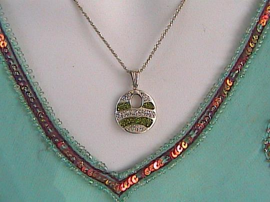 Other Sterling Silver Diamond Cut CZ Necklace