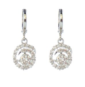 Cubic Zirconia Swirl Circle Drop Bridal Earrings