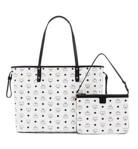 MCM Project Visetos Reversible Handbag Tote in WHITE