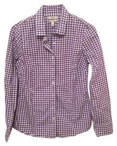 J.Crew Button Down Shirt Purple and white check
