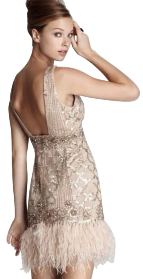 b81e22d9b597a Sue Wong Champagne Art Deco Gatsby Beaded Feather Cocktail Dress