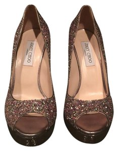 Jimmy Choo Sparkly Glitter Stiletto Multicolor Platforms
