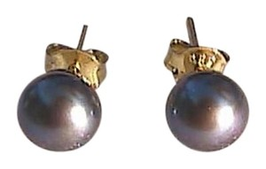 14k Yellow Gold Tahitian Cultured Pearl Stud Earrings (#3)