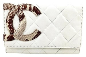 Chanel Chanel White Quilted Lambskin Python