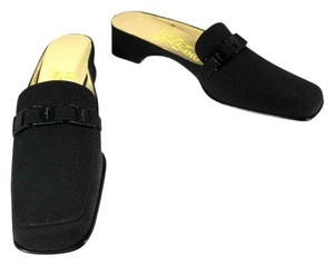 Salvatore Ferragamo Black Leather Drivers Mules