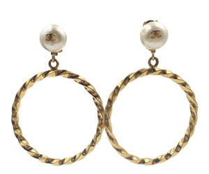 Chanel Vintage Chanel Gold CC Loop Pearl Large Clip on Earrings