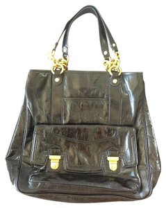 Coach Patent Leather Distressed Satchel in Black