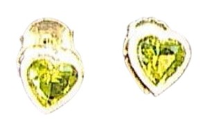 14k Yellow Gold Heart Peridot Stud Earrings