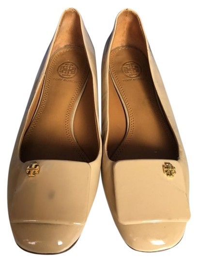 Tory Burch Patent Leather Stylish Comfortable Nude Flats Image 0