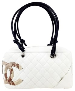 Chanel Quilted Lambskin Python Cambon Bowler Shoulder Bag