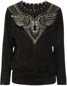Isabel Marant Suede Leather Western Embellished Studded Top Black