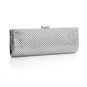 Mariell Evening Mesh Metallic Silver Clutch