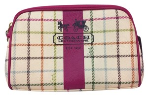 Coach Peyton Tattersall Plaid Ivory, Pink, Multicolor Travel Bag