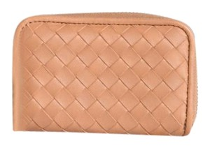 Bottega Veneta Bottega Veneta Blush Woven Leather Card Holder NWT
