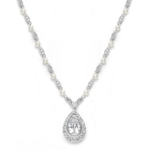 Mariell Victorian Bridal Pearl Necklace With Cubic Zirconia Teardrop 3828n