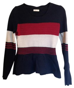 Etam weekend waist line sweater Dark blue red and tan Sweater