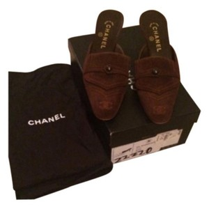 Chanel Brown Suede Mules