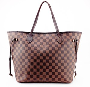 Louis Vuitton Neverfull Mm Canvas Leather Tote in Brown and Tan