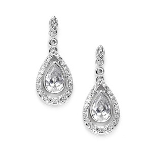 Mariell Silver Cubic Zirconia with Pear Teardrops 3828e Earrings