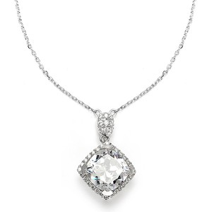 Mariell Silver Cushion Cut with Micro Pave Cz 3780n Necklace
