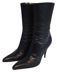 Roberto Cavalli Leather Leather Soles Animal Print Leather Insoles & Lining Chevron Pattern Stiching Black Boots