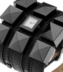 Karl Lagerfeld Karl Lagerfeld Black Leather Triple Zip Bracelet Watch KL2001